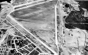 Aerial view of Laurinburg-Maxton Army Air Base taken on 26 February 1944. This is where the 51st Field Hospital trained during 2 weeks, December 1943-January 1944.