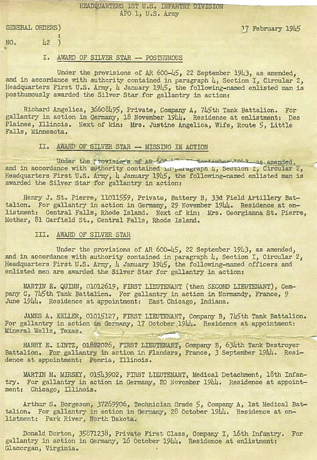 General Orders No. 42, dated 17 January 1945, detailing the award of Silver Stars to members of the 1st Infantry Division.