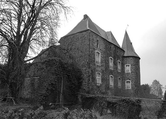 Roetgen Castle, Germany. Photo taken in October 1944. During this time the entire 51st Field Hospital was established in Roetgen, where they were housed in buildings.