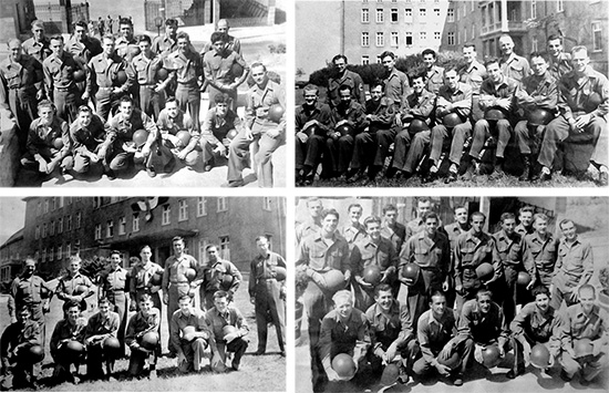 Series of pictures illustrating different sctions of the 107th Evacuation Hospital. Top L: Motor Pool personnel. Top R: Laboratory, X-Ray, and Pharmacy personnel. Bottom L: Headquarters and Medical Supply personnel. Bottom R: Detachment personnel.