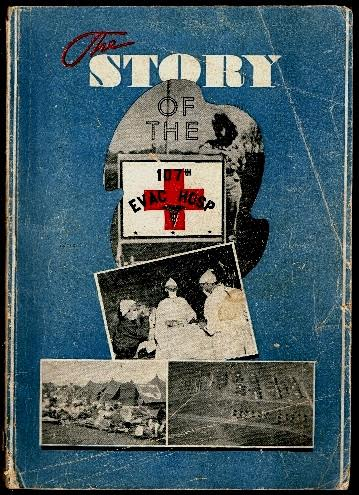 """Cover of the booklet """"The Story of the 107th Evacuation Hospital (SM)"""". This publication was prepared by Captain Joseph J. Mihalich (Detachment Commander) and Tehnician 5th Grade Martin Chancey (Office of Information & Education), who served with the 107th EH during World War Two. Its subtitle is """"Five Stars to Victory""""."""
