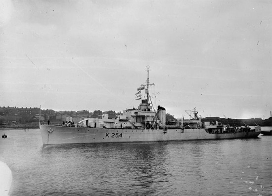 Exterior view of the River-class frigate HMS Ettrick which transported elements of the 1st Medical Battalion to North Africa.