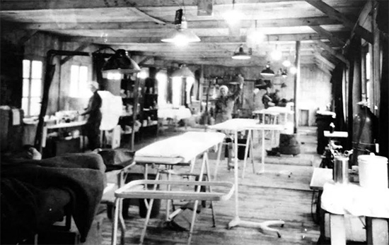 Picture illustrating the main Operating Room, 107th Evacuation Hospital, while established at Clervaux, Luxembiurg, October-November 1944.