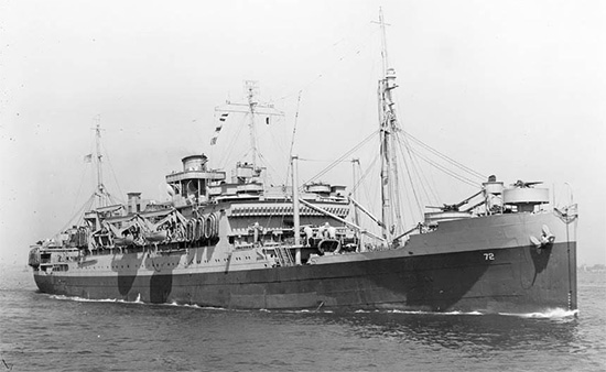 """Picture illustrating Troop transport """"Susan B. Anthony"""", AP-72. The ship left New York Port of Embarkation on 27 February 1944 carrying the 107th Evacuation Hospital across the Antlantic to Northen Ireland, where she arrived 9 March 1944. Photo taken 23 April 1943."""