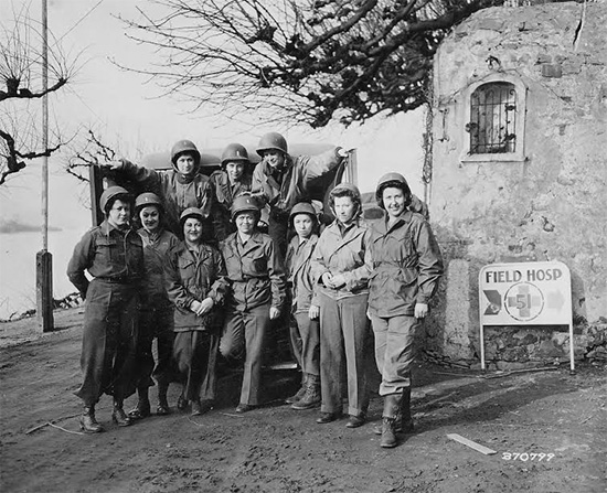 Group of Nurses of the 51st Field Hospital, first ANC personnel to have crossed the Rhine River. Photo taken 14 March 1945.