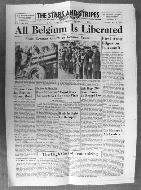 Vintage copy of The Stars and Stripes dated November 4, 1944, stating: All Belgium is Liberated.