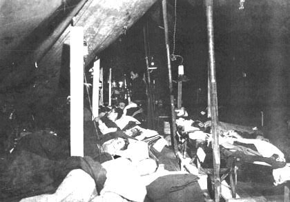Partial view of Patients Ward of the 51st Field Hospital when set up at Les Annais, Belgium, early February 1945.