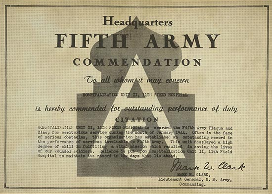 Copy of the official Fifth United States Army Commendation awarded to  Unit II, 11th Field Hospital by Lt. Gen. Mark M. Clark.