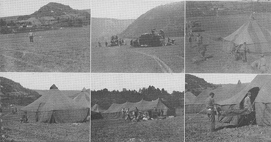Collage of photographs showing the general duties of staff at the 11th Field Hospital.