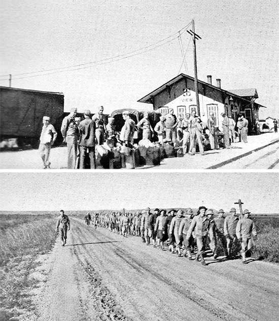 Top: Medical / Surgical Technicians of the 34th Evacuation Hospital at the View railway station, Texas, on their way to more specialized training at Fitzsimons General Hospital, Denver, Colorado. Bottom: Personnel of the 34th Evacuation Hospital on a road march, somewhere in Texas.