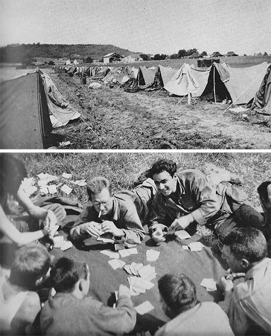 Photographs illustrating the Enlisted Men's bivouac at Fougères, France. Photo taken in the period 7 > 15 August 1944.