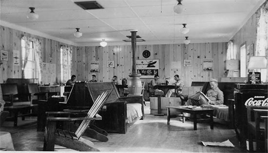 Vintage photo illustrating the dayroom at Camp White, Medford, Oregon, where the 11th Field Hospital was originally activated on 1 August 1942.