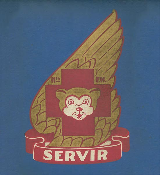 The Distinctive Insignia for the 11th Field Hospital was originally created by the Walt Disney's Studios and approved 8 December 1942. It consisted of a gold wing bearing a maroon cross with a gold bear's head caboshed, and a small title indicating 11th F.H. A maroon scroll with white lettering and motto SERVIR was attached below. The DI was rescinded in 1961 and later amended, redesignated and authorized for the 21st Combat Support Hospital, with a revised motto stating FEAR NOT.