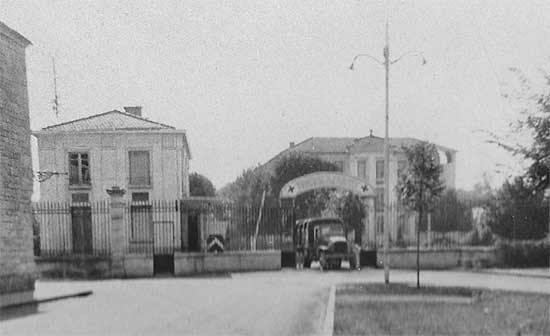 Main entrance of the 34th Evacuation Hospital, while established in a French Military Hospital at Verdun, France. Photo taken some time in September 1944.