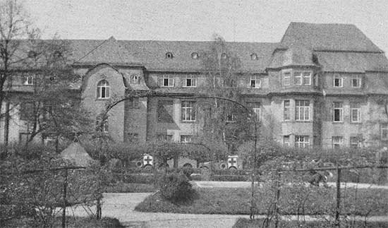 General view of the 34th Evacuation Hospital during its set up in Frankfurt-am-Main, Germany. This was the unit's first stay on enemy soil. The Hospital remained in Frankfurt from 30 March to 13 April 1945.