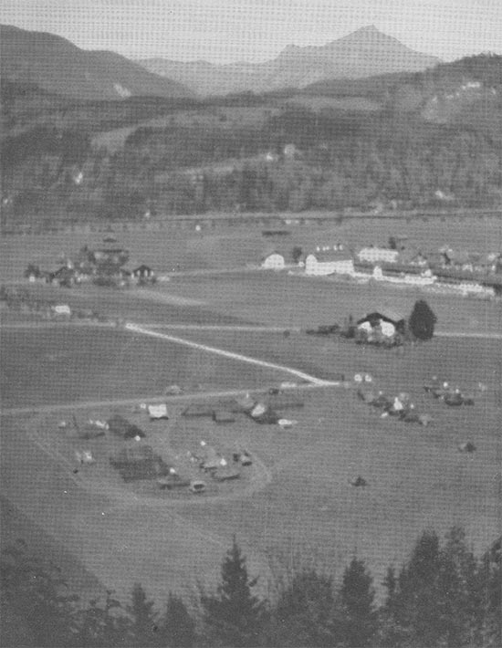 Partial aerial view showing the facility maintained by Unit III, 11th Field Hospital in Kufstein, Austria.