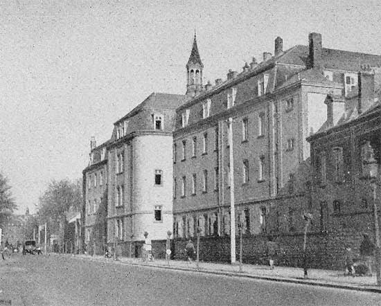 Vintage photograph illustrating the 34th Evacuation Hospital's installations (Convent) in Luxembourg, Grand-Duchy of Luxembourg, where the organization was established from 2 February to 30 March 1945.