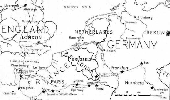 Operations Map illustrating the route taken by the 34th Evacuation Hospital during its stay in the European Theater of Operations.