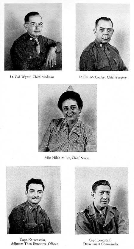 Vintage photograph illustrating some of the Staff of the 34th Evacuation Hospital. Lt. Colonel Arthur T. Wyatt; Lt. Colonel Ernest W. McCauley; Captain Hilda Miller; Captain Seymour Katzenstein; and Captain Ralph S. Longstaff, Jr.