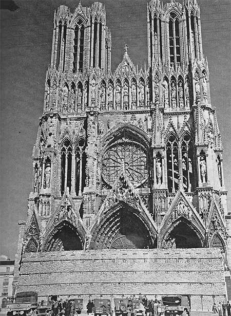 Vintage photograph of the famous Reims Cathedral, France. Part of a major tourist attraction, the place was visited by numerous soldiers during passes at the end of the war.