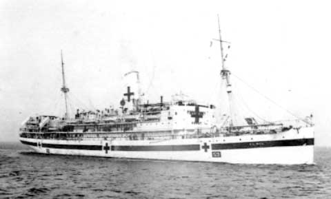 """Vintage photograph illustrating His Majesty's Hospital Ship """"El Nil"""", No. 53, which carried the 34th Evacuation Hospital across the Atlantic, departing New York POE 12 February 1944."""