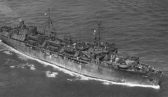 "Vintage photo illustrating USAT ""George O. Squier"", AP-130, which would carry Headquarters and Units I + III to Southern France. The transport departed the Port of Naples, Italy, on 13 August 1944, to rendezvous with the TF # 87 convoy, which was to participate in Operation ""Dragoon"", the Invasion of Southern France set for 15 August 1944."