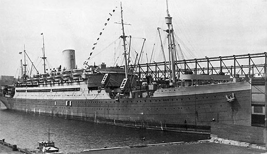 Vintage picture of US Army Transport Edmund B. Alexander which did not carry the 58th General Hospital, but was part of the convoy that sailed for the United Kingdom October 8, 1943. However, 9 Medical Officers of the organization crossed the Atlantic aboard this ship while running sick call and a dispensary for the numerous passengers.