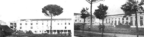 October 8, 1943, partial views of hospital buildings in use by the 56th Evacuation Hospital, at Avellino, Italy. Left: buildings of the Surgical Service; right: those used by the Medical Service.