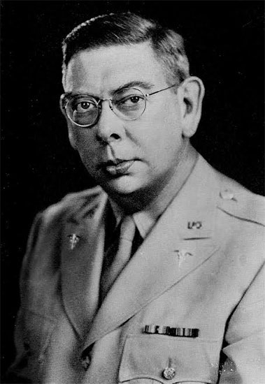 Portrait of Dr. Frank R. Bailey, Commanding Officer of the 58th General Hospital from April 1, 1943 until July 12, 1945 (at the time he was boarded by the 50th General Hospital, and awaiting transportation to the Zone of Interior). Lieutenant Colonel F. R. Bailey had meanwhile been replaced by Colonel  Harry B. Luscombe (who had already commanded the unit in January 1943).