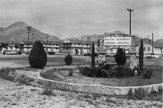 Partial view illustrating William Beaumont Hospital, El Paso, Texas. During World War Two, the basic medical facility at Fort Bliss, expanded to include 147 buildings reaching a total bed capacity of 4,064. The Hospital also ran a School for Medical Department Technicians.