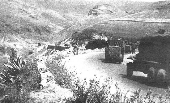 June 1943, trucks and trailers of the 56th Evacuation Hospital, enroute from Casablanca, French Morocco, to Bizerte, Tunisia.