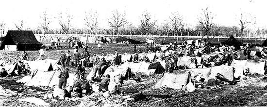 Picture illustrating the Enlisted Men's bivouac site at Caivano. The 56th Evacuation Hospital remained in its staging area from January 20 to January 24, 1944, while preparing for their journey to the Anzio Beachhead.