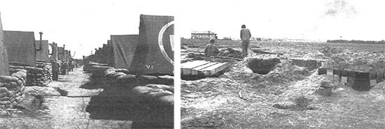 Picture illustrating some aspects of the 56th Evacuation Hospital area on the Anzio Beachhead. Left: ANC tented quarters; right: some of the Officers' foxholes.