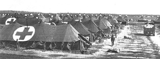 Picture illustrating the Enlisted Men's area of the 56th Evacuation Hospital while established on the Anzio Beachhead, Italy.