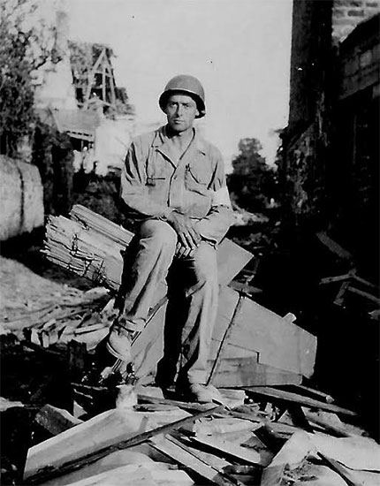Picture of Technician 4th Grade George S. Harris, while serving in Normandy with the 58th General Hospital.