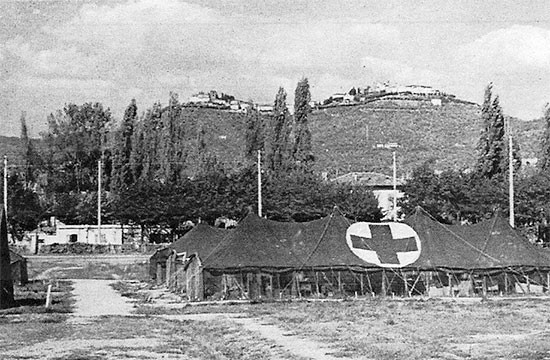 Partial view of 56th Evacuation Hospital Headquarters during its stay at Montecatini, Italy, taken some time early August of 1945.