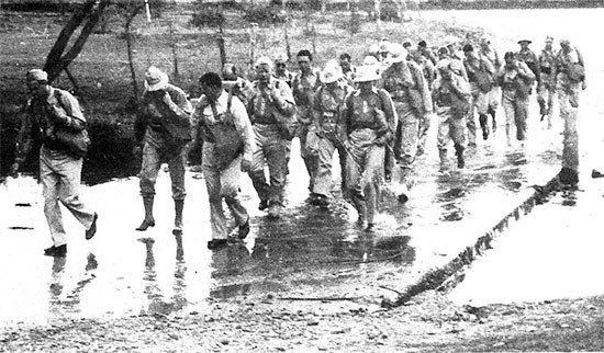 April 1942, picture illustrating Officers on a training march, Fort Sam Houston, San Antonio, Texas.