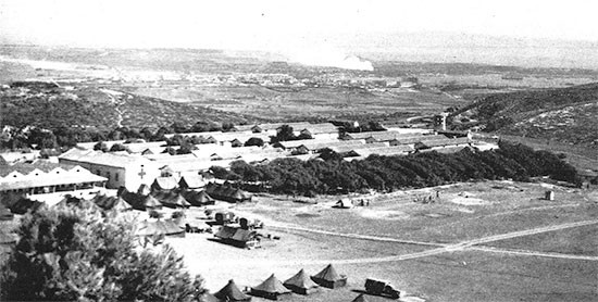 View of Camp Nador, a former French garrison post situated on a hilltop, which would become the 56th Evacuation Hospital's home in Tunisia from June 11 to September 17, 1943.