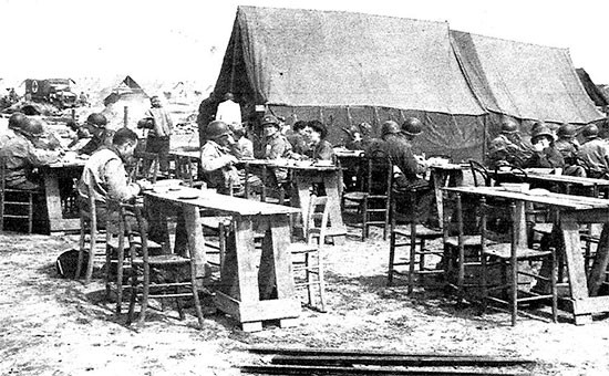 Partial view of the 56th Evacuatio Hospital mess area for Officers and Nurses on the Anzio Beachhead, Italy.