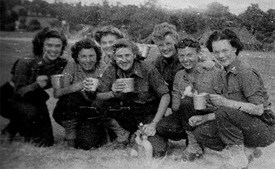 Picture illustrating a group of ANC Officers during the Hospital's stay near La-Haye-du-Puits, Normandy. The 58th General Hospital site was located at Bolleville.
