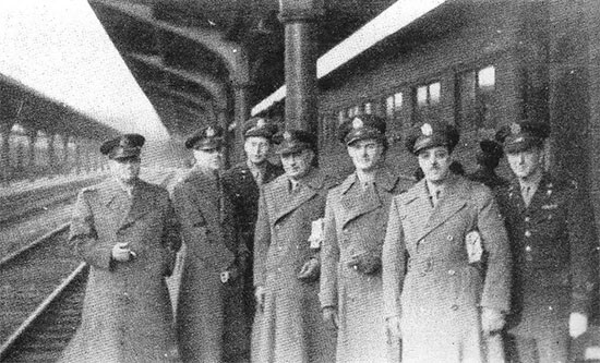Picture illustrating some Officers of the advance party en route to Camp Livingston in view of the forthcoming activation of the 58th General Hospital. The picture was taken at the Union Station, St. Louis, Missouri, January 13, 1943.