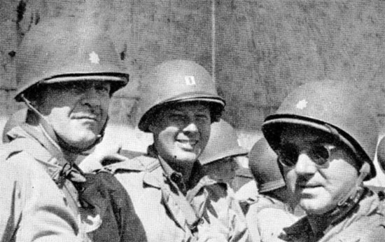 Picture illustrating 3 Officers of the 58th General Hospital, on their way to France. Picture taken during the crossing, July 29-30, 1944.