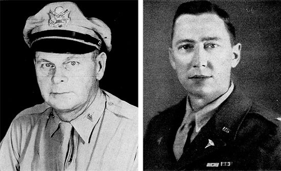 Left: Colonel Henry S. Blessé, MC, CO 56th Evacuation Hospital, May 4, 1942 – March 4, 1945. Right: Colonel Kenneth F. Ernst, MC, CO 56th Evacuation Hospital, March 18, 1945 – September 20, 1945.