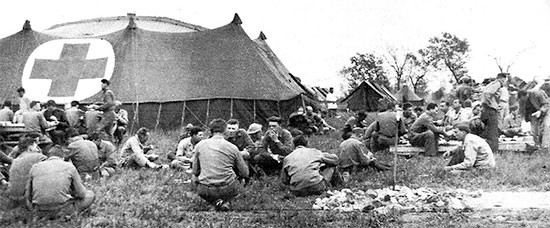 April 24, 1944 First (overseas) Anniversary picnic organized by the 56th Evacuation Hospital for staff and personnel while established at Nocelleto, italy.