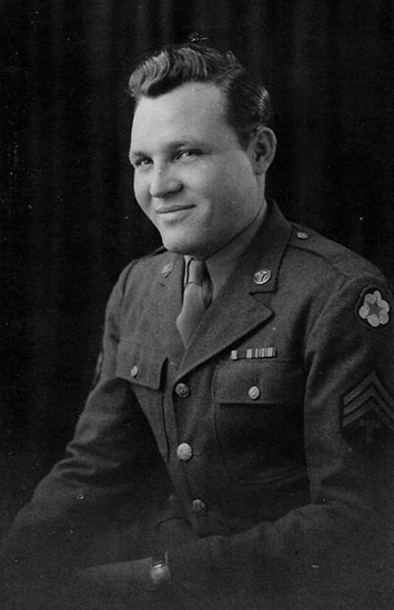 Portrait of Technician 4th Grade Quentin C. Unruh, ASN 39848219, taken at the end of his service with the 58th General Hospital.