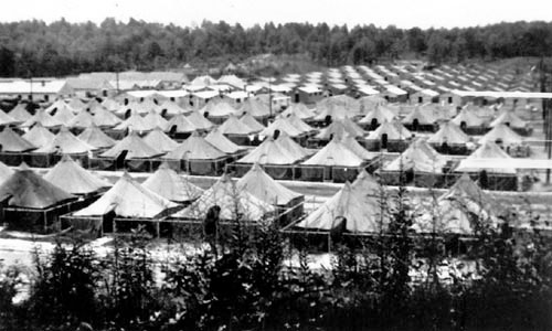 "Partial view of Camp Toccoa, Toccoa, Georgia, where the 603d QM GR Co underwent another short training period, prior to its move overseas. This was in view of the unit's planned participation in Operation ""Cottage"", the invasion of Kiska Island, in the Aleutians, which took place August 15, 1943."