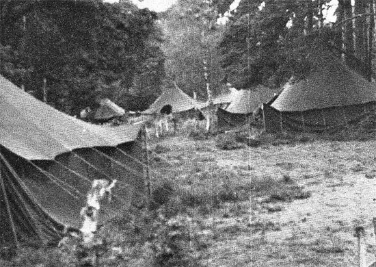 Partial view of the camouflaged tented area at Marshalling Area C-21, Southampton, England, where the 58th General Hospital awaited their final moving orders, July 28-29, 1943.