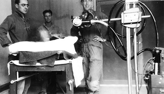 Partial view of the X-Ray Room, either at Commercy or Lérouville, France. The X-Ray Division was headed by Major James B. Hall.