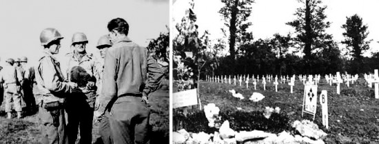 Utah Beach operations. From L ro R: 1st Engineer Special Brigade Officers confer with 1st Lieutenant Neal F. Raker, Fourth Platoon Leader, 607th QM GR Co, June 7-8, 1944. Sainte-Mère-Eglise Cemetery; Plot B reserved for 4th Infantry Division dead.