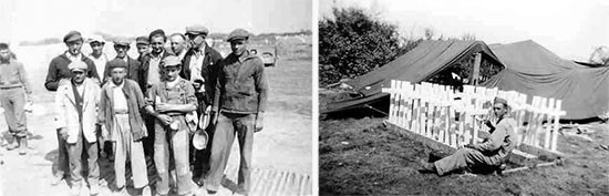 Burial operations. Left photo: group of French civilians, part of a burying detail, used to supplement American personnel (they would eventually be reinforced by German PWs). Right photo: unknown Private painting wooden crosses for the cemetery.